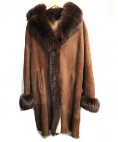 DANKO(ダンコ)の古着「ファー付リアルムートンコート」|ブラウン