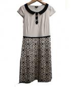 TOCCA(トッカ)の古着「リボンブラウス刺繍ワンピース」|ベージュ×ブラック