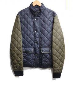 COACH(コーチ)の古着「レザートリムキルティングジャケット」|ネイビー×グリーン