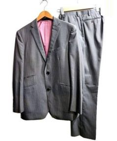BURBERRY BLACK LABEL(バーバリーブラックレーベル)の古着「シルクウールストライプスーツ」|グレー