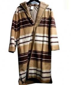 so1:1(ソウワンバイワン)の古着「ボーダーウールコート」|ベージュ