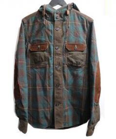 JUNYA WATANABE CDG(ジュンヤワタナベ コムデギャルソン)の古着「エルボーパッチフード切替シャツ」|ブラウン×グリーン