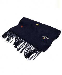 GUCCI(グッチ)の古着「エンブロイダリー付き シルクカシミヤスカーフ」|ネイビー