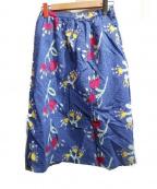 bulle de savon(ビュル デ サボン)の古着「花柄ストライプスカート」|ブルー