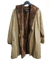 MAYSON GREY(メイソングレイ)の古着「ライナー付き変形コート」|オリーブ×ブラウン