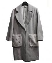 Lily Brown(リリー ブラウン)の古着「フェイクファービジューコート」 ライトグレー