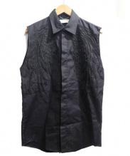 CHRISTIAN DADA(クリスチャンダダ)の古着「羽毛刺繍ノースリーブシャツ」|ブラック