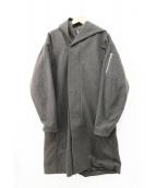 KAZUYUKI KUMAGAI ATTACHMENT(カズユキクマガイアタッチメント)の古着「カシミヤ混ストレッチ圧縮メルトンフーデッドコート」|グレー