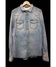 DIESEL(ディーゼル)の古着「加工デニムシャツ」 ブルー
