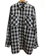 Danke schon(ダンケシェーン)の古着「Linen CheckBig Shirts」|ブラック