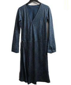 45rpm(フォーティファイブアールピーエム)の古着「総柄カシュクール風ワンピ」|インディゴ