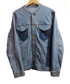 MORGAN HOMME(モルガン オム)の古着「ノーカラーデニムジャケット」|ブルー