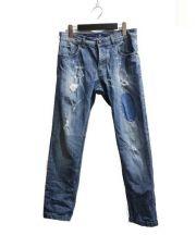 ENTRE AMIS(アントレアミ)の古着「パッチワークデニムパンツ」|インディゴ
