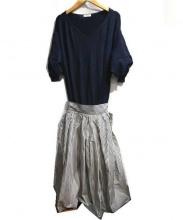 FRAY ID(フレイアイディー)の古着「タフタドルマンコンビワンピ」|ネイビー