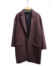 YOKO CHAN(ヨーコチャン)の古着「アンゴラ混チェスターコート」|エンジ