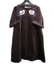 latelier du savon(アトリエ ドゥ サボン)の古着「ベロア刺繍ワンピース」|ブラウン