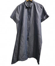 KNOTT(ノット)の古着「リネンコットンワッシャーラップシャツドレス」|ブルー