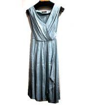 TOMORROW LAND collection(トゥモローランドコレクション)の古着「リネンポリエステルギャザーワンピース」|ブルー