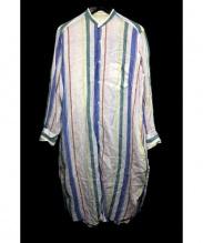 MACPHEE(マカフィー)の古着「フレンチリネンバンドカラーシャツワンピース」|ホワイト