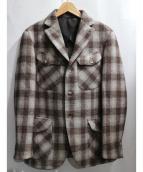 HEVO(イーヴォ)の古着「ウールチェックジャケット」|ブラウン