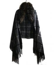 UNITED ARROWS(ユナイテッド アローズ)の古着「ラクーンファーつきチェックマフラー」 ブラウン