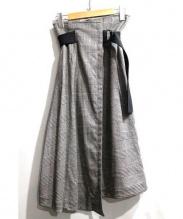 UNITED TOKYO(ユナイテッドトーキョー)の古着「グレンチェックラップスカート」|グレー