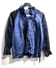 TORI-TO(トリト)の古着「フリル襟vネックブラウス」|ネイビー