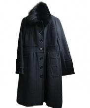 BURBERRY BLUE LABEL(バーバリーブルーレーベル)の古着「フォックスファーアンゴラウールコート」|ブラック