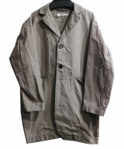 universal seven(ユニヴァーサルセブン)の古着「ハイカウントチェックロングオジジャケット」 ベージュ