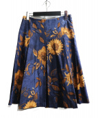 Max Mara(マックスマーラ)の古着「花柄スカート」|ネイビー
