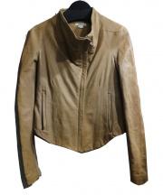 HELMUT LANG(ヘルムートラング)の古着「ハイネックレザージャケット」|ベージュ