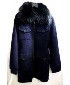 VIVIENNE TAM(ヴィヴィアン・タム)の古着「アンゴラカシミヤ混ファーコート」|ネイビー