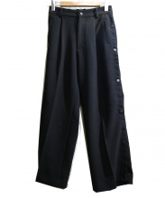 KIIT(キート)の古着「P/PU W Cloth Basket Pants」|ブラック