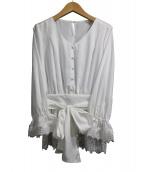 JUSGLITTY(ジャスグリッティー)の古着「リボンベルト付袖刺繍ブラウス」
