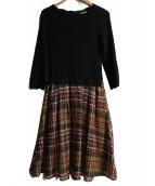 Rirandture(リランドチュール)の古着「スカラリブニットエアリーチェックドッキングワンピース」