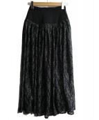 FRAY ID(フレイアイディー)の古着「コルセットフレアーロングスカート」|ブラック