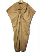 mizuiro-ind(ミズイロインド)の古着「ドレープロングワンピース」|ベージュ