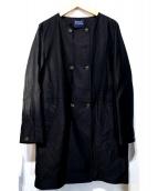 HUMAN WOMAN(ヒューマンウーマン)の古着「綿麻ライトモールスキンショートコート」|ネイビー