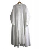 mizuiro-ind(ミズイロインド)の古着「フレアシャツワンピース」|ホワイト