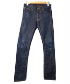 NUDIE JEANS(ヌーディジーンズ)の古着「THIN FINN DRY FLAT SELVAGE」|インディゴ