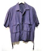 Bernabeu(ベルナベウ)の古着「オープンカラーワイドシャツ」|ネイビー