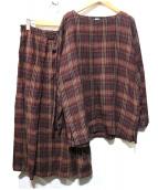 ISSEY MIYAKE(イッセイミヤケ)の古着「リネンスカートセットアップ」|ブラウン