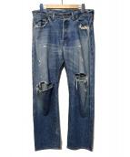UNUSED(アンユーズド)の古着「ダメージ加工デニムパンツ」|インディゴ