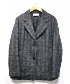 JANE MORE(ジェーンモア)の古着「チェックジャガードジャージイ-ミルドジャケット」 グレー