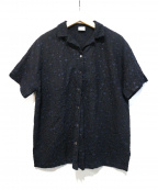 bulle de savon(ビュル デ サボン)の古着「カットワーク魚と水草刺繍開襟ブラウス」|ネイビー