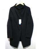 Gabardine K.T(ギャバジンケーティー)の古着「ナイロンボンディング抜け襟ロングジャケット」|ブラック
