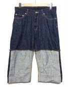 .efiLevol(エフィレボル)の古着「切替デニムパンツ」|インディゴ