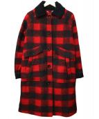 DIESEL(ディーゼル)の古着「チェックボイルドウールコート」|レッド