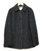 HUMAN WOMAN(ヒューマンウーマン)の古着「スライバーミドル丈ステンカラーコート」|グレー