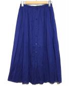 BALLSEY(ボールジー)の古着「コットンボイル ギャザーフレアスカート」|ブルー